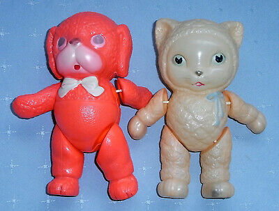 Vintage Japanesae Celluloid Snow Baby Cat and Dog Dolls