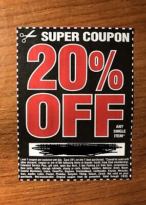 (1) Harbor Freight 20% Off Discount Coupon - Home Depot, Lowe's! Exp. 1/9/20