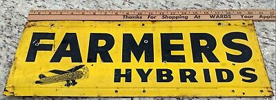Farmers Hybrids Antique Vintage Seed Corn Sign Tin Flying Airplane Weathervane