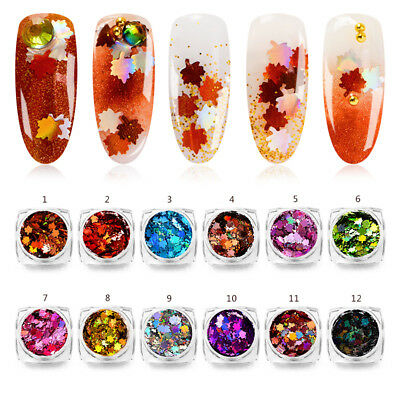 Nail Art Maple Leaf Sequins Laser Nails Glitter Thin Sticker DIY Decoration Gift