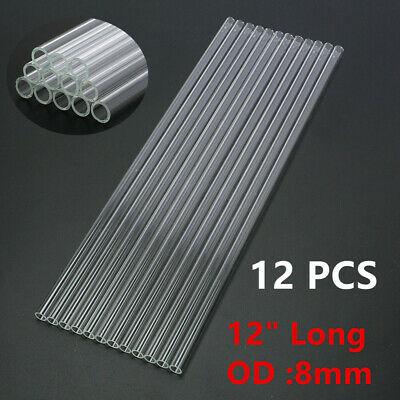 "12pcs 12"" Glass Pyrex Blowing Tubes 8mm OD 1.2mm Glass Blowing Tubing Clear USA"
