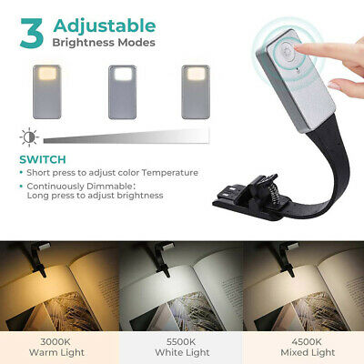 Portable Flexible LED Reading Light Clip on Clamp Travel Lamp Book Rechargeable