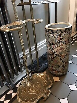 Vintage Oriental Floral, Beads & Butterflies Large Poterry Umbrella Stand