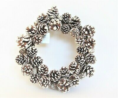 Gisela Graham Christmas Garland Wreath With Natural Snowy Glitter Cones 32Cm New