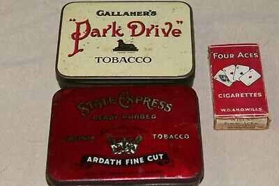 2 Old Cigarette Tins and a Cigarette Packet