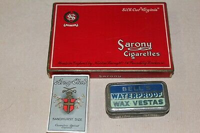 Old Cigarette Tin, Cigarette Packet and Vesta Tin with wax matches.