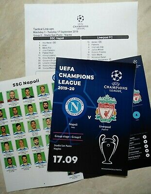 NAPOLI Naples Italy LIVERPOOL England 2019 CHL FAN + OFFICIAL linesup