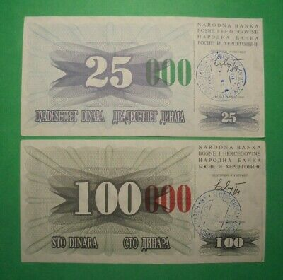 Bosnia 25,100 Dinara Banknotes With Overprint 25,000 And 100,000.