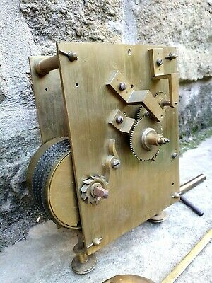 A Large Tavern Or Gallery Clock Fusee Movement + Weighted Hands & Pendulum Vgc