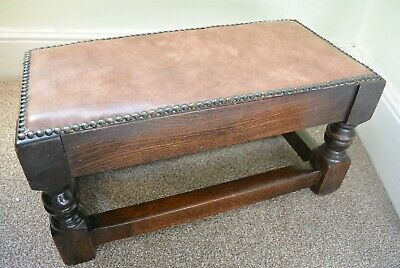 Beautiful Antique Solid Oak Double Footstool with Leather Studded top
