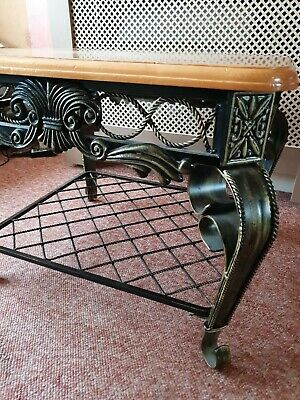 Antique Classic Square Victorian Vintage Metal Frame Corner Table Removable Top