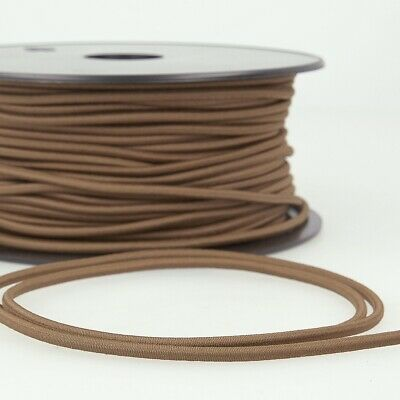 Round Rayon Elastic Cord - 3mm Wide - Chocolate Brown - Per Metre
