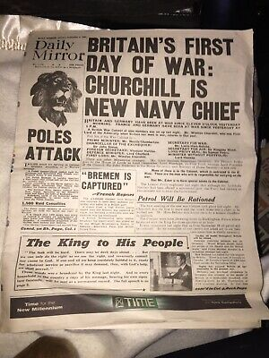 4th Sept 1939 Daily Mirror Newspaper Britain's First Day Of War Cover