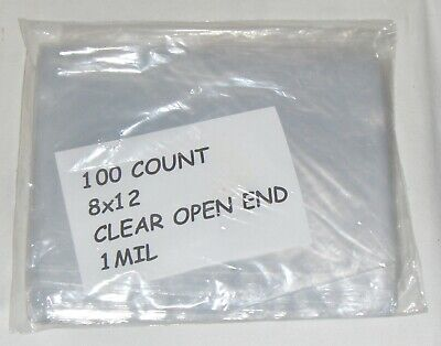 100 8x12 CLEAR POLY PLASTIC BAGS OPEN TOP END FLAT FOOD SAFE GOODIE GOODY PARTY