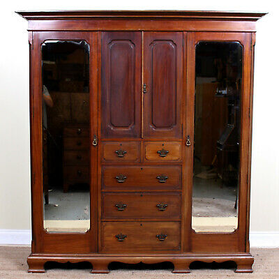 Large Antique Wardrobe Triple Compactum Mahogany Mirrored Armoire Victorian 19th