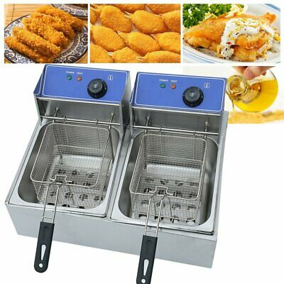 5000W 20L Commercial Electric Deep Fat Chip Fryer Dual Tank Stainless pP