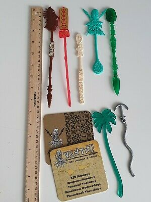 USA American Tiki Bar Swizzle Sticks Drink Stirrers Coasters Hawaiian Set Four