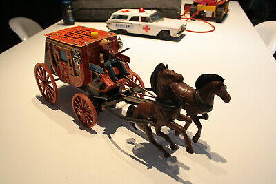 """1959 Large Japan """"Modern Toys"""" Overland Stage  Working Battery Operated"""