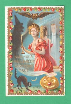 1910 Taggart Halloween Postcard Frightened Lady Candle Man In Mirror Cat Apples