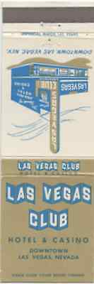 Las Vegas Club Hotel & Casino - Nevada Front Strike Matchbook Cover Matchcover