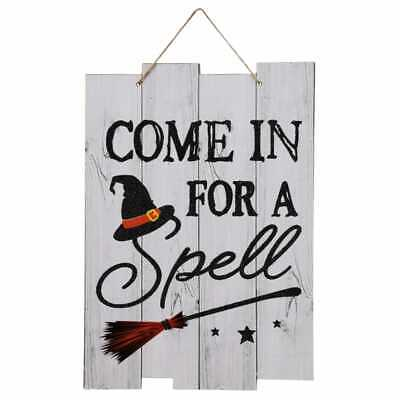 Halloween Sign - Come In For A Spell - Witch Hat & Broomstick 13 Inch Long