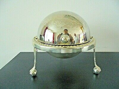 Ornate Vintage Roll Top Silver Plated Butter Dish