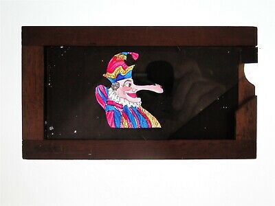 Slipping Wooden Lantern Slide - Mr. Punch Has Mouse On His Nose - Hand Painted