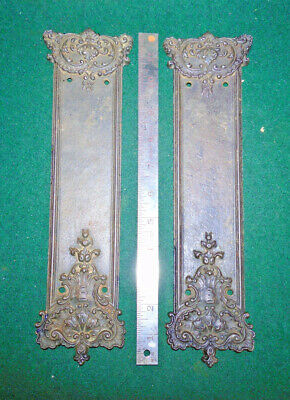 Cast Iron Door Push Plates - Eastlake Design - Savlaged - Very Nice Set (13038)