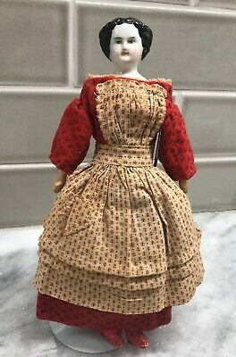 Antique China Head Doll original dress early old Leather dolls shoes 1800's
