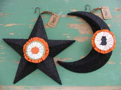 Wendy Addison BLACK GLITTER ~HALLOWEEN STAR and MOON ORNAMENTS~ Set of 2 ~ NWT!