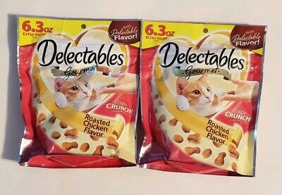 LOT OF 2 Hartz Delectables Cat Treats Roasted Chicken 6.3oz Each