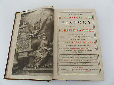 1719 A General ECCLESIASTICAL HISTORY 5th Ed. LAURENCE ECHARD Map LEATHER Bible