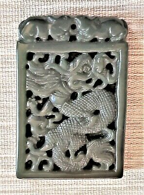 Beautiful Chinese Carved Jade Dragon Pendant Bead Statue