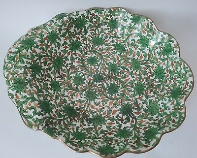 Antique Arts & Crafts Style China Bowl Gold & Green Foliage Staple Repairs