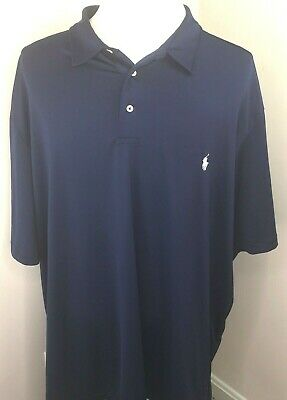 Polo Ralph Lauren Mens 3XLT XXXLT Navy Performance Polo Shirt White Pony Stretch