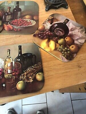 Set of 6 Place Mats Vintage Retro Alcohol Design Drambuie Wine Sherry etc.