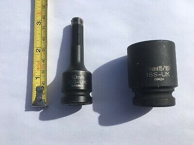 Metric 24Mm 1/2 Drive Impact Socket +10Mm Hex Allen Key Driver 1/2 Both Iss-Uk
