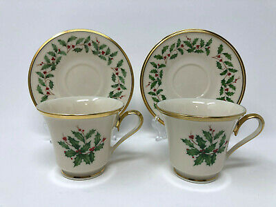 Lenox Dimension HOLIDAY - 2 CUPS AND SAUCERS - holly gold trim - free shipping