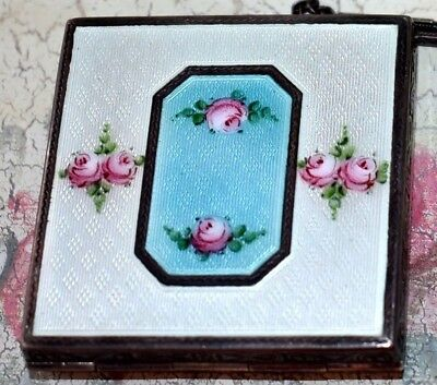 LOVELY Antique ELGIN STERLING Hand Painted Enamel GUILLOCHE Compact Dance PURSE