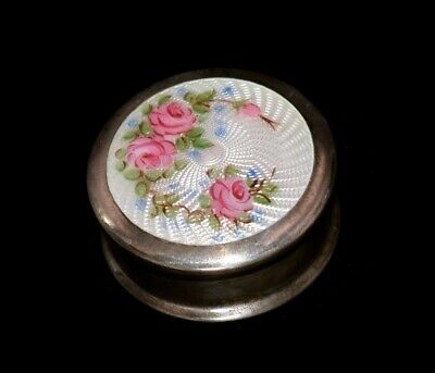 Stunning Antique STERLING & ENAMEL GUILLOCHE Hand Painted ROSES Pill/Patch BOX