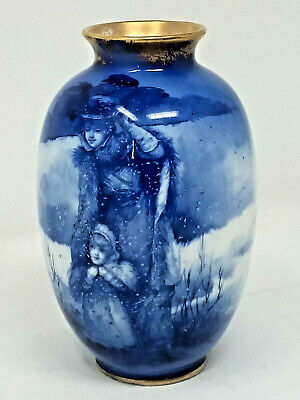 Royal Doulton Blue CHILDRENS WARE Series VAse Winter Scene Mother Child in Snow
