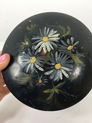 Vintage Antique Tole Ware Hand Painted Hinged Tin