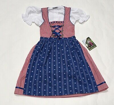 Girls Isra Trachten Dress Apron 3 Pc Sz 10 Germany Oktoberfest Red Gingham New