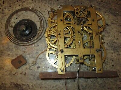 antique weight driven clock movement & coil gong Lot #1