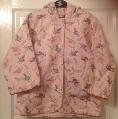 Young Girls -Pale Pink Dance/music Printed Raincoat Jacket Coat - Age 7-8 Years