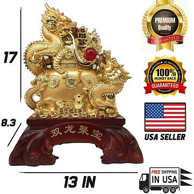 Large Feng shui gold plated dragons statue for wealth good for business and home