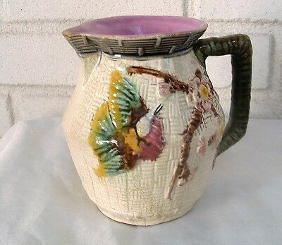 Beautiful Antique Majolica Brightly Colored Bird & Prunus Blossoms Pitcher