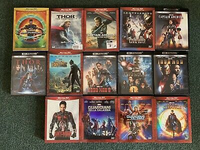Lotto Blu Ray Marvel,Iron Man,Thor, Captain America,Guardiani,Black Panther