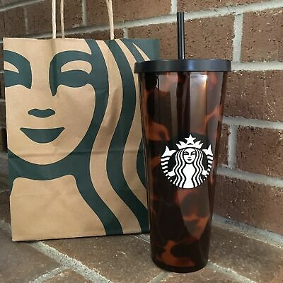 NEW SOLD OUT FALL 2019 STARBUCKS TORTOISE BROWN BLACK TUMBLER CUP 24oz HOLIDAY