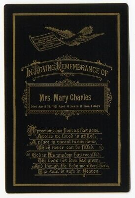 Cabinet Card 1902 REMEMBRANCE gold edged Mrs Mary Charles DOVE poem FUNERAL CARD